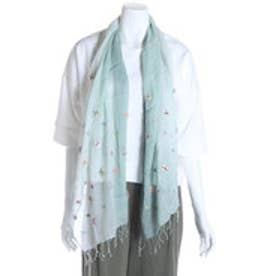 カンカン KANKAN コットンドットパッチ刺繍ショール (グリーン)