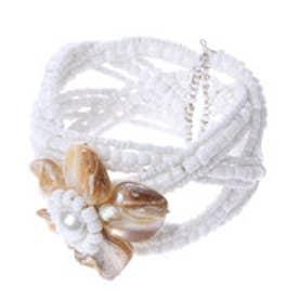 カンカン KANKAN シェルフラワーブレス(ホワイト) (ホワイト)