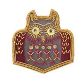 カンカン KANKAN ザリ刺繍ブローチ フクロウ (ミックス)