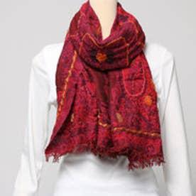 カンカン KANKAN ウールコットンペイズリー刺繍ショール (レッド)