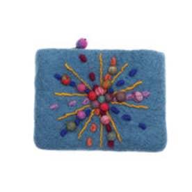 カンカン KANKAN フェルトカラフル刺繍ポーチ (ブルー)