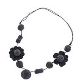 カンカン KANKAN ポンポンフラワーミックスネックレス (ブラック)