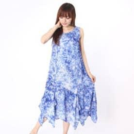 カンカン KANKAN シャントゥーンプリントノースリーブ裾フリルワンピース (ブルー)