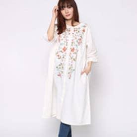 カンカン KANKAN カシミール刺繍コットンドレス (ホワイト)