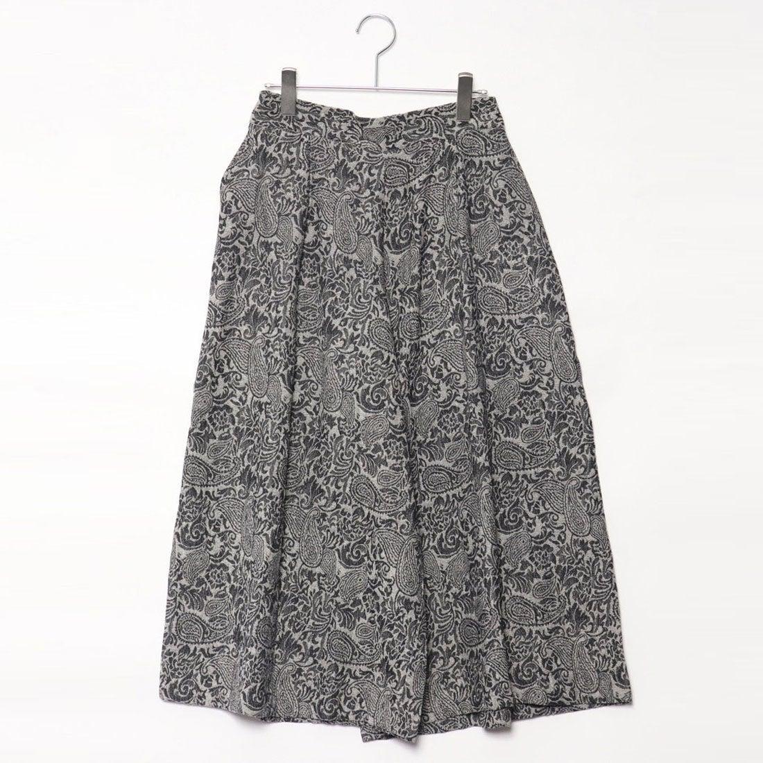 カンカン KANKAN 花ペイズリーJQ綿キュロットスカート (ブラック)