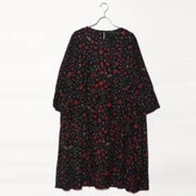 カンカン KANKAN 小花柄バンブープリントドレス (ブラック)