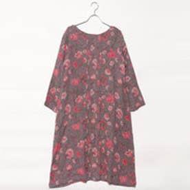 カンカン KANKAN フラワーダブルガーゼ2wayドレス (チャコール)