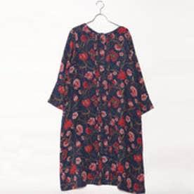 カンカン KANKAN フラワーダブルガーゼ2wayドレス (ネイビー)