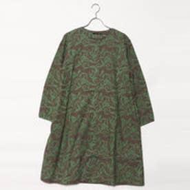 カンカン KANKAN 綿リーフ柄プリントコートドレス (グリーン)