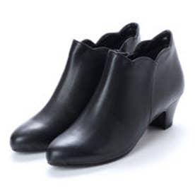 プールサイド POOLSIDE 【防水・本革】フラワーカットショートブーツ (ブラック)