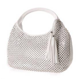 キスコ KISCO メッシュ&ラメデザインファスナー式フリンジチャーム付バッグ (ホワイト)