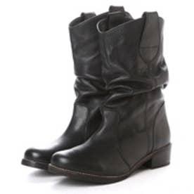 キスコ KISCO 【牛革】カジュアルミドルブーツ (ブラック)