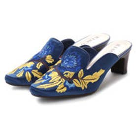 キスコ KISCO サテン刺繍花柄ミュール (ブルー)