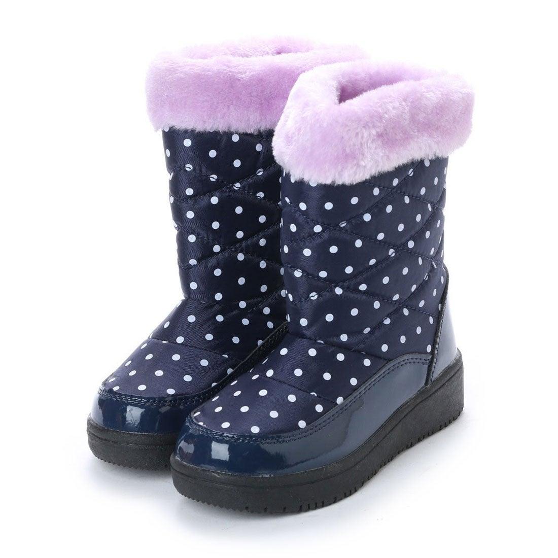 エニーウォーク Anywalk 防寒ブーツ ジュニア キッズ ガールズ 女の子用 ファー付きドット柄 aw_17991 (NAVY/PURPLE)