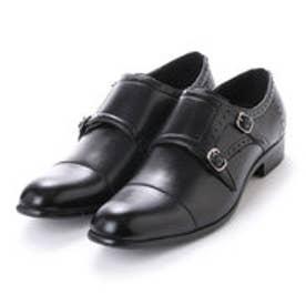 エニーウォーク Anywalk 紳士 トリプルモンクストラップ プレーントゥ ビジネスシューズ〈クラシコイタリア〉・aw_16124 (BLACK)
