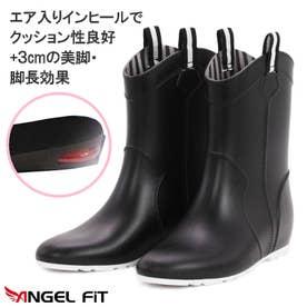 エンジェルフィット Angel fit ビューティー&コンフォート シークレット エアー インヒール レディーース レインブーツ (BLACK)