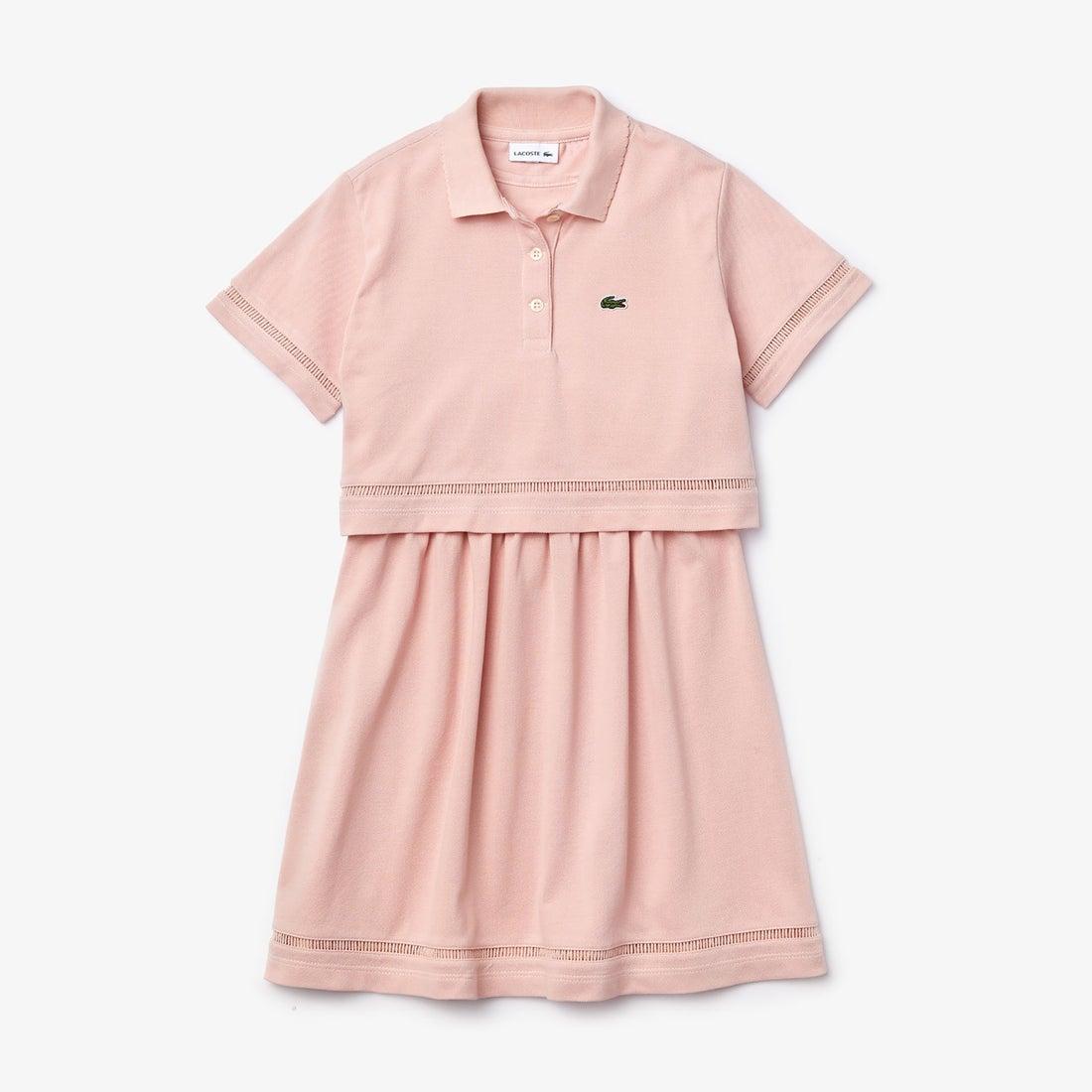 ロコンド 靴とファッションの通販サイトラコステ LACOSTE Girls ポロスタイルセットアップワンピース (ピンク)