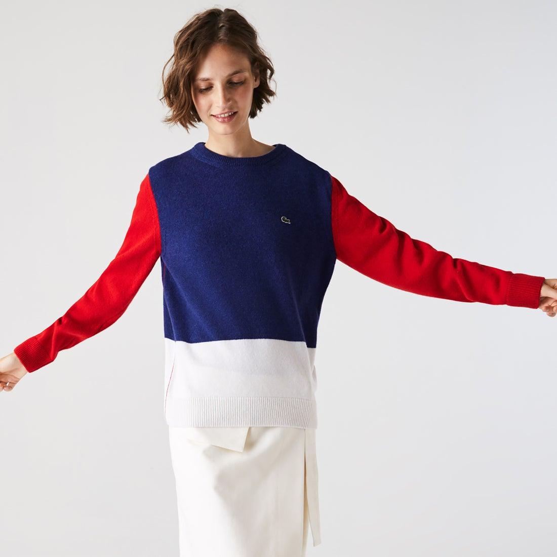 ラコステ LACOSTE Made in France カラーブロックウールセーター (ネイビー)