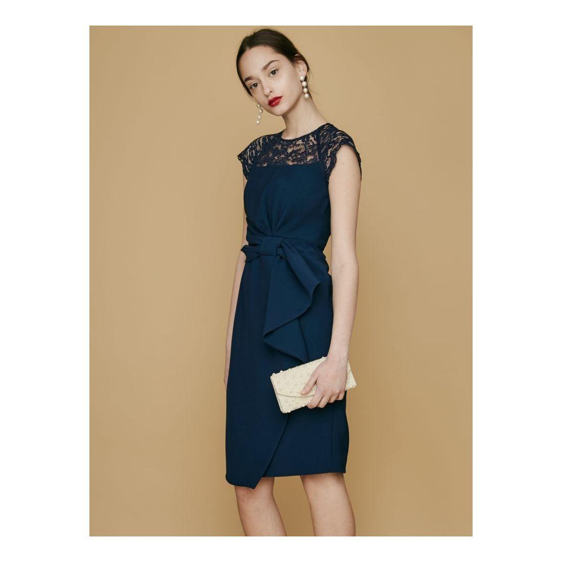 37d28e729d897 LAGUNAMOON LADYラッフルリボンタイトドレス(ネイビー) -レディースファッション通販 ロコンドガールズコレクション (ロココレ)