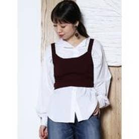 LAGUNAMOON ノーカラーオーバーシャツ(ホワイト)