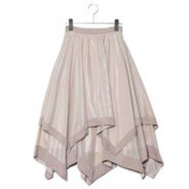 リリーブラウン Lily Brown 異素材ヘムラインスカート (グレー)