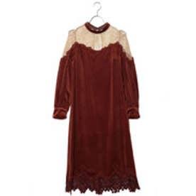 リリーブラウン Lily Brown ベロアシアーロングドレス (ブラウン)
