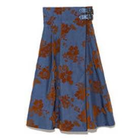 リリーブラウン Lily Brown フラワーフロッキーラップスカート (ブルー)