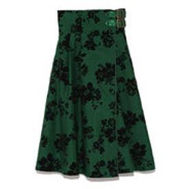 リリーブラウン Lily Brown フラワーフロッキーラップスカート (グリーン)