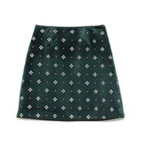 リリーブラウン Lily Brown 小紋刺繍台形スカート (グリーン)