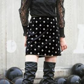 リリーブラウン Lily Brown 小紋刺繍台形スカート (ブラック)