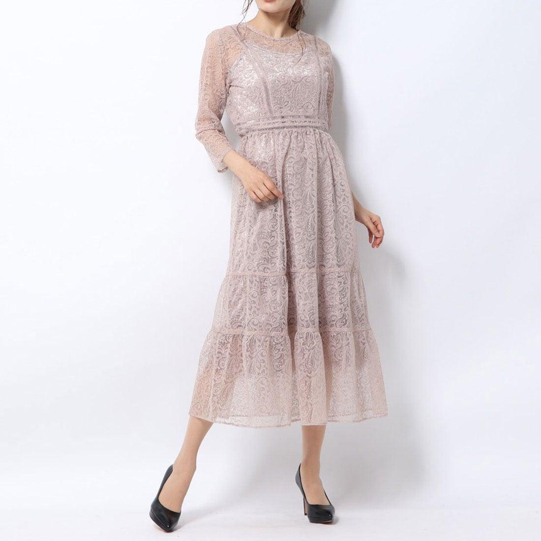 リリーブラウン Lily Brown チュールレースドレス (ピンク