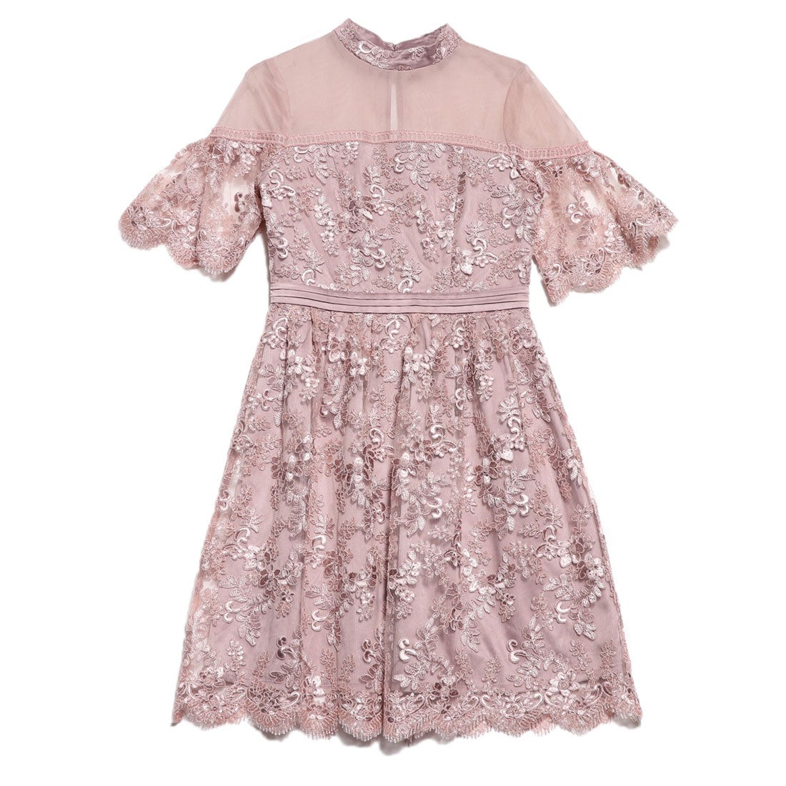 リリーブラウン Lily Brown コード刺繍ドレス (ピンク