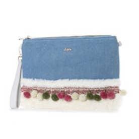 リトルアクセサリーズ LITTLE accessories フェイクファー付属チェックツィードバッグ (ブルー)
