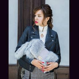 スパイラルガール SPIRAL GIRL 長毛タイプフェイクファーコンビクラッチ&ショルダー (グレー)