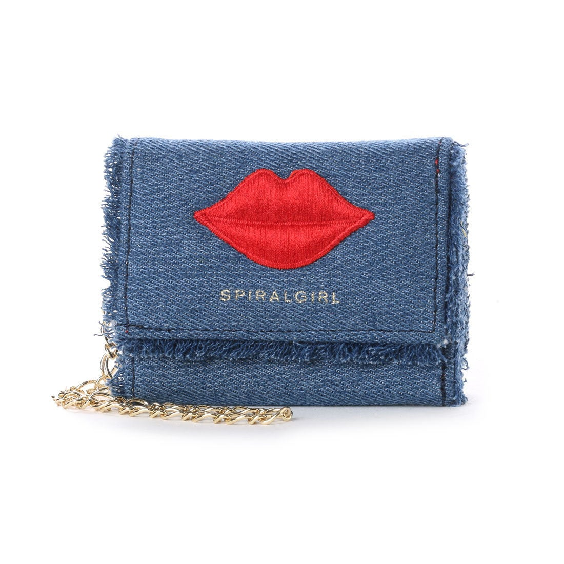 08414fe89c7d スパイラルガール SPIRAL GIRL リップポイント刺繍3つ折りウォレット (ブルー) -靴&ファッション通販 ロコンド〜自宅で試着、気軽に返品