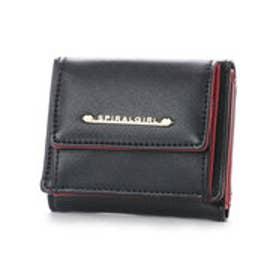 【SPIRALGIRLスパイラルガール】シンプルライン3つ折り財布 (ブラック)