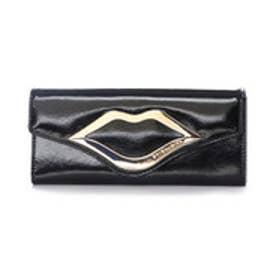 スパイラルガール SPIRAL GIRL リップ型金具付きフラップタイプ長財布 (ブラック)