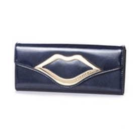 スパイラルガール SPIRAL GIRL リップ型金具付きフラップタイプ長財布 (ダークブルー)