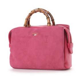 【Via Demizon ビアデミゾン】スェード調合皮使い2wayバンブーハンドルバッグ (ピンク)
