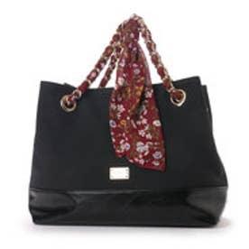 【VIVAYOU ビバユー】スカーフを通したチェーンがキュートな2wayバッグ (ブラック)