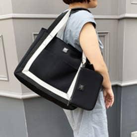 ビバユー VIVAYOU ウレタン調素材1枚仕立てポーチ付きトート(A4サイズ) (ブラック)