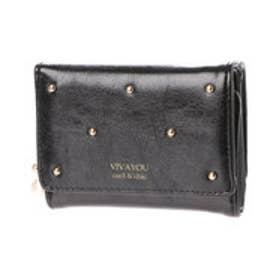 ビバユー VIVAYOU スタッズ使い3つ折りコンパクト財布 (ブラック)