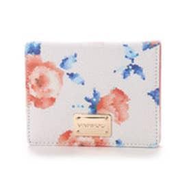 ビバユー VIVAYOU 【VIVAYOU ビバユー】フラワー柄2つ折り財布 (ホワイト)