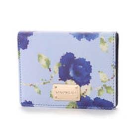 ビバユー VIVAYOU フラワー柄2つ折り財布 (ライトブルー)