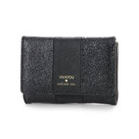 ビバユー VIVAYOU メタリック合皮コンパクト財布 (ブラック)