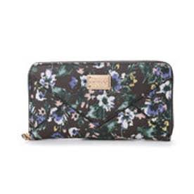 【VIVAYOU ビバユー】花柄プリントラウンドジッパー長財布 (ブラック)