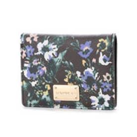 【VIVAYOU ビバユー】花柄プリント2つ折り財布 (ブラック)