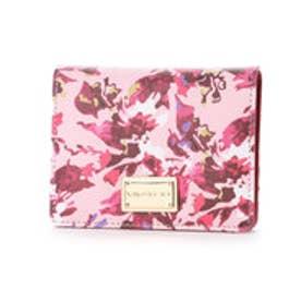 【VIVAYOU ビバユー】花柄プリント2つ折り財布 (レッド)