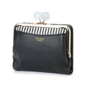 【VIVAYOU ビバユー】大き目ひねりのがま口折財布 (ブラック)