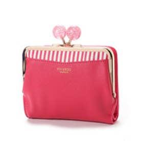 【VIVAYOU ビバユー】大き目ひねりのがま口折財布 (ピンク)